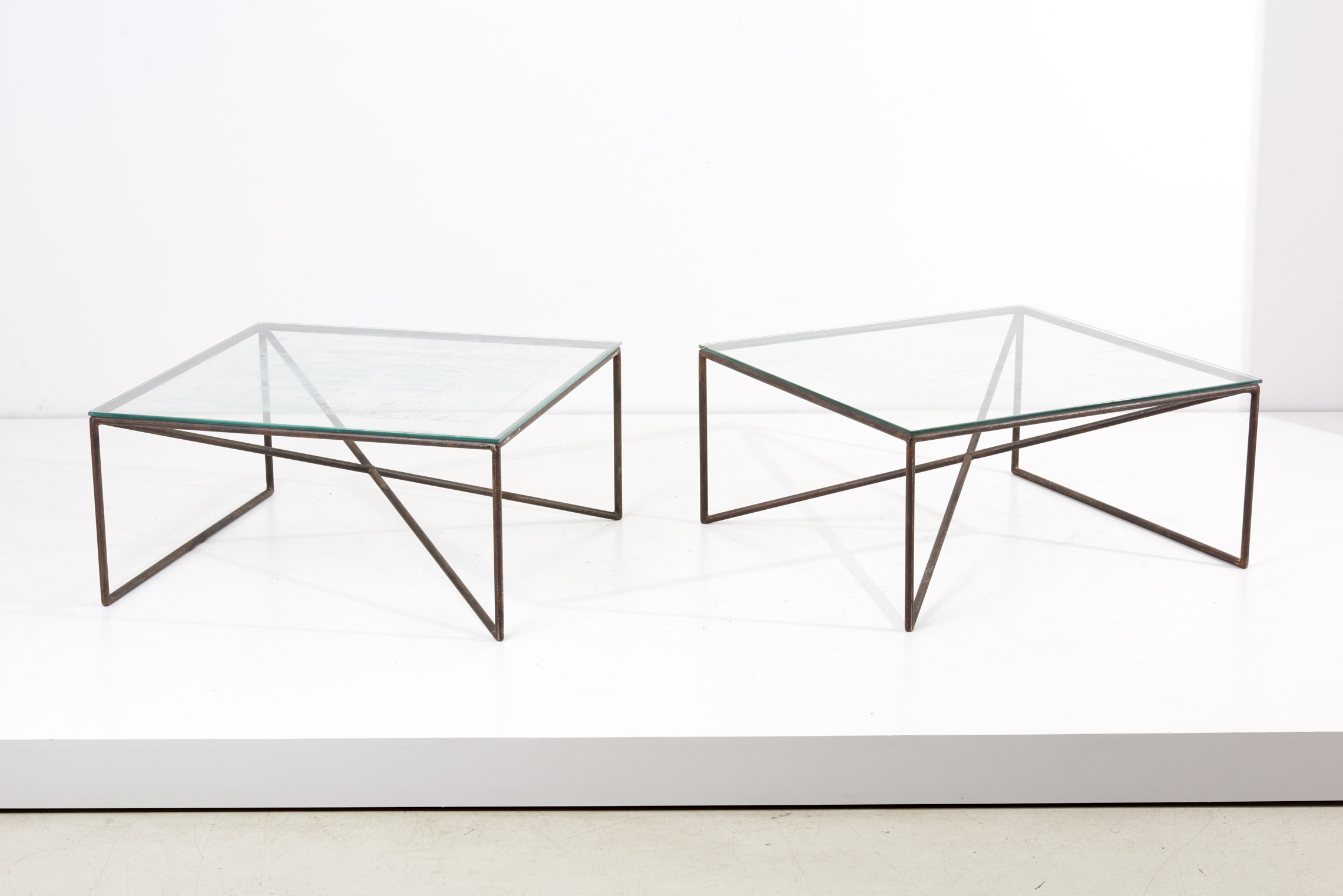 1 Of 2 Square Wrought Iron Coffee Tables By Giovanni Ferrabini